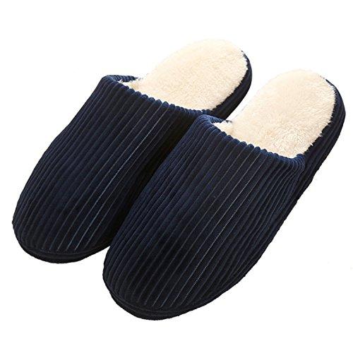 Sasairy Herbst und Winter Pantoffeln Anti-Rutsch Indoor Plüsch Wärme Hausschuhe Slipper für Herren Damen(Dunkelblau, EU 42/43)