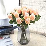 Longra Wohnaccessoires & Deko Kunstblumen Künstliche Rose Silk Blumen 5 Blüte Blatt Garten Dekoration DIY Rosa Blume (10I: 6PC)
