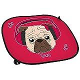 Auto-Sonnenschutz mit Namen Tara und Mops-Motiv mit Kopfhörer und Schleife in pink für Mädchen | Auto-Blendschutz | Sonnenblende | Sichtschutz