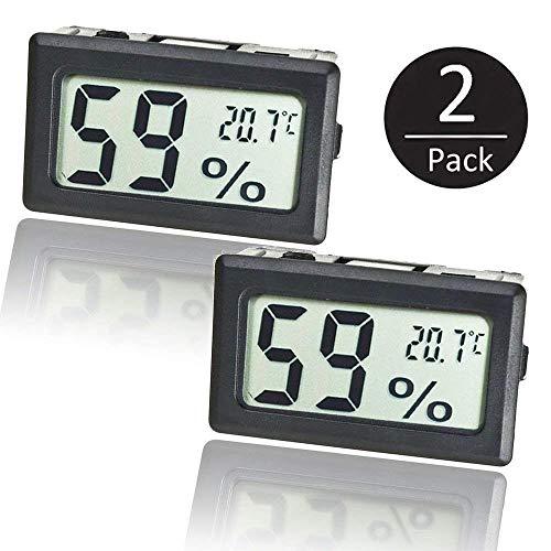 EEEKit 2-Pack Mini LCD Digitale elettronico Temperatura umidità misuratore termometro Interno igrometro (Nero)