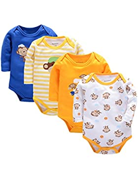 Momsbabe 4-Päckchen Unisex Baby Biobaumwolle Bodysuit Mischfarbenkleidung mit langer Ärmel 0-9 Monaten Westen,...
