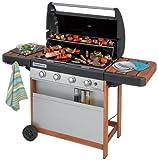 Campingaz Barbecue a Gas 4 Series Woody L, Grill BBQ Con 4 Bruciatore, 12,8 kW di Potenza, Sistema di Pulizia Facile InstaClean, Griglia e Piastra in Acciaio