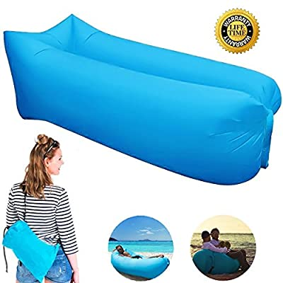 Inflatable Lounger Couch, Portable Air Sofa Sleeping Bed Chair with Fast Inflatable Design for Travelling, Camping, Beach, Park, Backyard ---Lengthened produced by Oddis - uk fast delivery