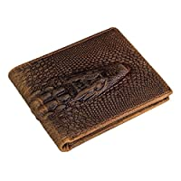 Véritable Cowhide Alligator Head Crocodile Gator Horizontal Portefeuille Itslife Hommes