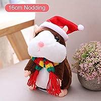 Henreal 1 Unids Hablando Hamster Mascota Juguete de Navidad Sonido Registro Educativo de Peluche para Niños Niños
