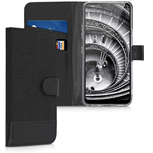 kwmobile LG G7 ThinQ/Fit/One Hülle - Kunstleder Wallet Case für LG G7 ThinQ/Fit/One mit Kartenfächern & Stand - Anthrazit Schwarz