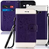 Galaxy J3 2016 Case Purple, Samsung Galaxy J3 2016 Phone Case, Slynmax Ultra Slim Fit Lightweight Stitching Flower Embossed Design Magnetic Premium PU Folio Leather Cover Flip Wallet Case Inner TPU Sillicone Case with Stand Card Holders Wrist Strap Book Style Scratch Resistant Shock Absorption Protective Case Cover for Samsung Galaxy J3 2016 J310 + 1 * Free Stylus Touch Pen