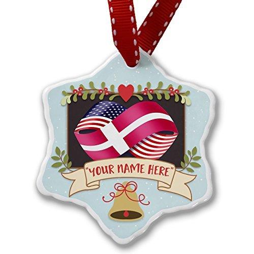 hmuck Your Own Personalisierte Namen Freundschaft Flaggen USA und Dänemark Ornament Craft Crafts Xmas Tree zum Aufhängen ()