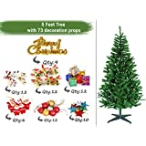 TIED RIBBONS Christmas Tree for Home Office Decoration (5 Feet) with 73 Ornaments Tree Decoration Props - Xmas Tree