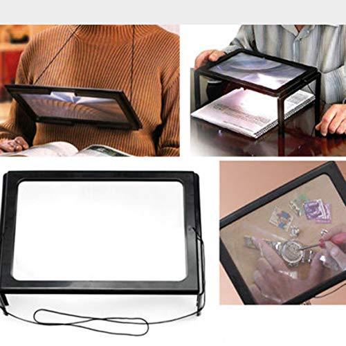MingXinJia Hochwertige Led-Leuchte Ganzseitenleseleine Rechteckige Handlupe zur Reparatur von Gadgets Beim Lesen von Produktionshandwerken Einfach für Ältere Menschen