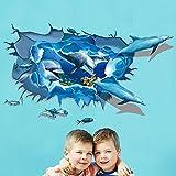 Wandtattoos Wandbilder 3D 3D Wand Gemälde Wand Dekoration Wohnzimmer Dekoration Sofa Hintergründe Wände personalisierte Ideen Ocean DolphinWandaufkleber 60 * 90cm