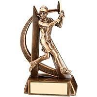 """Tenis trofeo–jugador de tenis de hembra en resina Bronce y dorado con diseño curvo, , 7.5"""""""