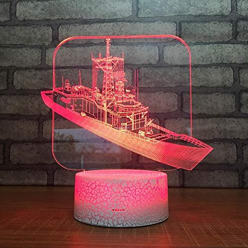 3D Optische Täuschung Nachtlicht Kriegsschiff 7 Farben Erstaunliche Optische Täuschung Die Schlafzimmer-Dekoration Für Kinder Weihnachten Halloween-Geburtstagsgeschenk Beleuchten