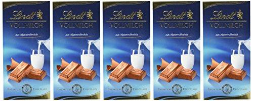 Lindt Vollmilch Tafel 100g, der Tafelklassiker aus zartschmelzender Alpenvollmilch-Schokolade, wiederverschließbare Verpackung, glutenfrei, 5er Pack (5 x 100 g)