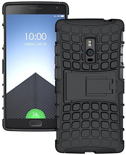 Febelo Kickstand Armor Dual Protection Back Cover Case For One Plus Two OnePlus2 - Black Color