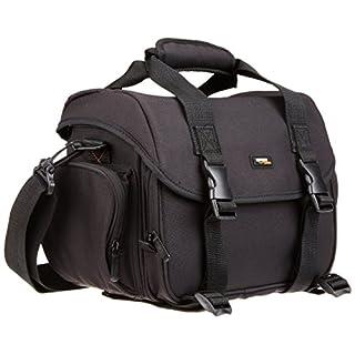 AmazonBasics - Large shoulder bag for SLR camera and accessories, Black with orange interior