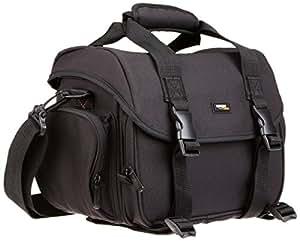 AmazonBasics - Borsa a tracolla grande per fotocamera reflex e accessori, Nero con interno arancione