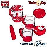 Genius Twist N Joy inkl. 3 Auffangbehälter | 8 Teile | Müheloses Allesschneiden | Gemüseschneider | Obstschneider | NEU Farbe Rot