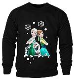 New Kids Childrens Boys Girls Frozen Disney Queen Elsa Anna And Olaf Merry Ymas Christmas Sweatshirt Jumpers 2-14 years (Kids 13-14 Years) Black