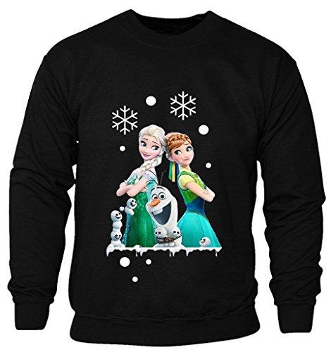 New Kids Childrens Boys Girls Frozen Disney Queen Elsa Anna And Olaf Merry Ymas Christmas Sweatshirt Jumpers 2-14 years (Kids 3-4 Years) Black