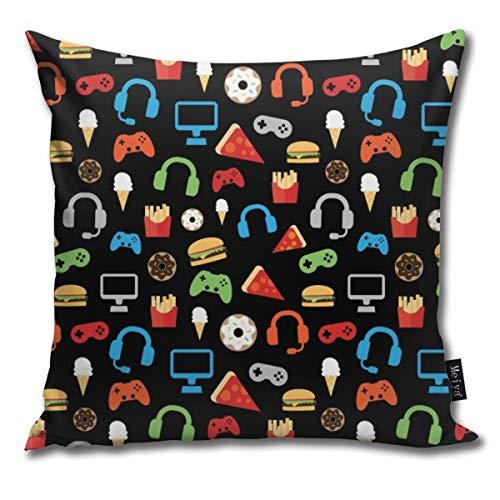 (Sotyi-ltd Kissenhülle für Videospiel-Party, Snack-Muster, lustig, quadratisch, für Schlafzimmer, Wohnzimmer, Dekoration, 45,7 x 45,7 cm)