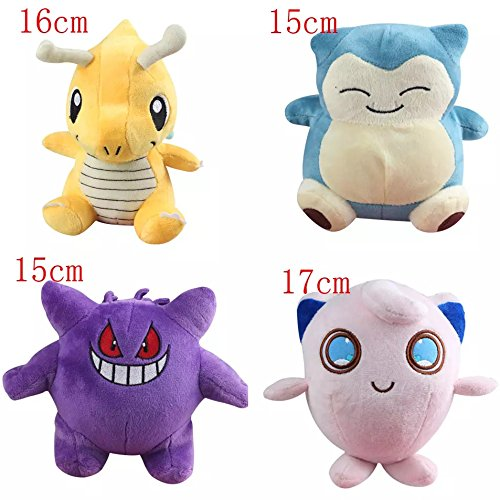 Conjunto de 4 juguetes de peluche Pokemon Jigglypuff, Dragonite, Snorlax, Gengar