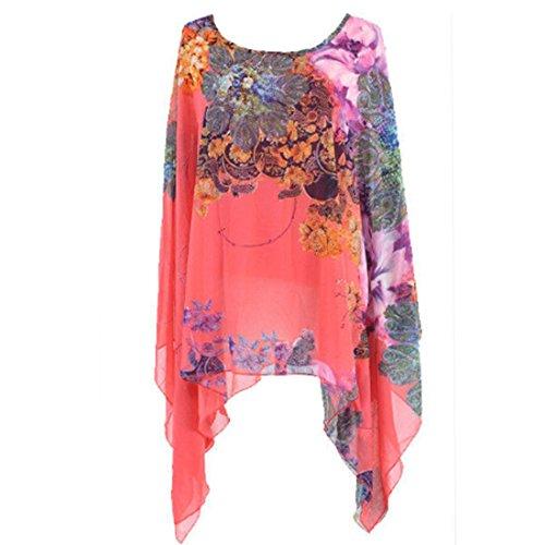 chiffon-irregolare-bordo-asimmetrico-floreale-manica-a-kimono-stampa-t-shirt-camicetta