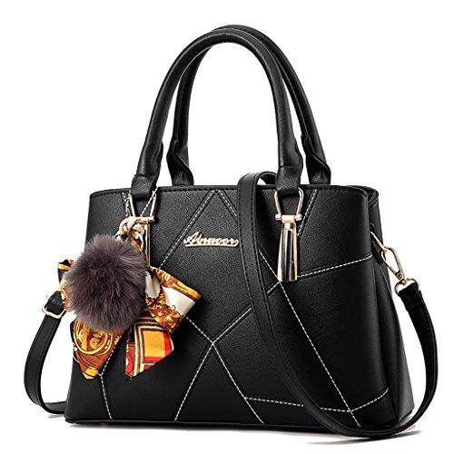 Baymate Ms. einfache und elegante Handtasche Schultertasche Messenger Bag Schwarz
