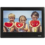 TENKER 7-'' HD Digital Photo Frame IPS LCD Screen with Auto-Rotate/Calendar/Clock Function, MP3/Photo/Video Player with Remote Control (Black)