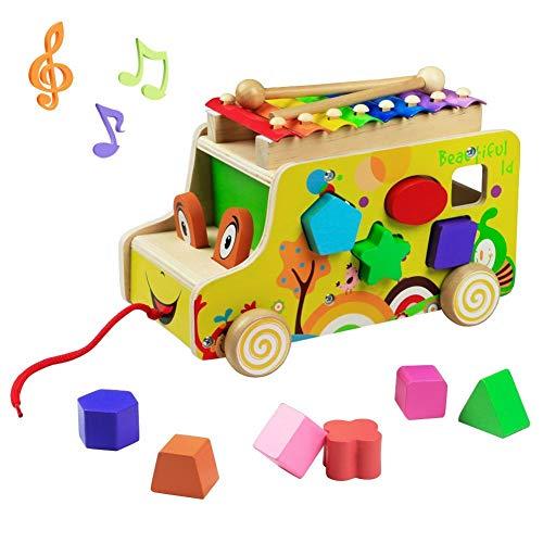 Lalia Nachzieh Holzspielzeug Auto Xylophon Hund Motorik Spielzeug Nachziehtier bunt, aus Holz, Geschenk Motorik Spielzeug, bunt Holz Spielzeug 3+ Kinder Kleinkinder Motorikwürfel 12x25x15