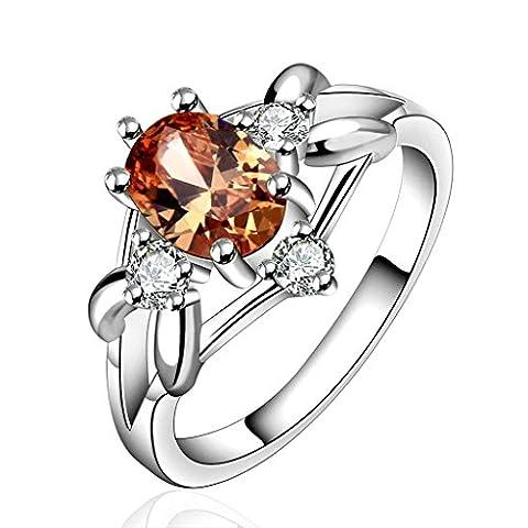 Epinki Damen Ringe, Trauringe Verlobungsring Elegant Damenringe Band Oval Champagner