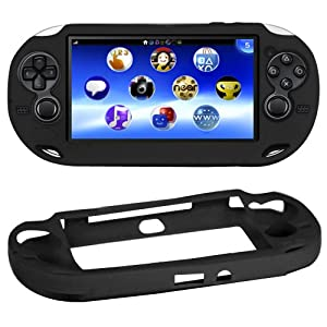 Accessotech Black Soft Silicone Skin Protector Cover Case Shell for Sony PS Vita Console
