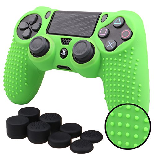 Pandaren® STUDDED Silikon Hülle Anti-Rutsch für PS4 controller x 1 (grün) + FPS PRO thumb grips aufsätze x 8 Assassin Creed Haut