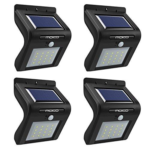 Freien Empfindlich Bewegung Licht Im (MoKo Solarbewegungs-Sensor beleuchtet im Freien, 16 LED Solarlichter Sicherheitslichter für Patio Garten Portal Zufahrtsweg , Schwarz (4 stück))