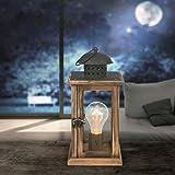 LED Laterne mit Beleuchtung Glühbirne Tischleuchte Batterie Betrieb Holz Metall (Tischlampe, Weihnachtsdeko, Weihnachtsbeleuchtung, Höhe 27 cm)