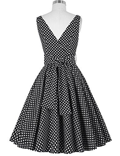 GRACE KARIN 50s Vintage Retro Rockabilly kleid Sommerkleid Partykleid Cocktailkleid Knielang CL6295-1 (Schwarz)