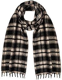 Artisanaux Tweed écossais Écharpe en laine de mérinos Noir
