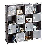Relaxdays Steckregal aus Kunststoff, erweiterbares Regalsystem mit Muster und Türen, 16 Fächer, 127x127x31,5 cm, schwarz