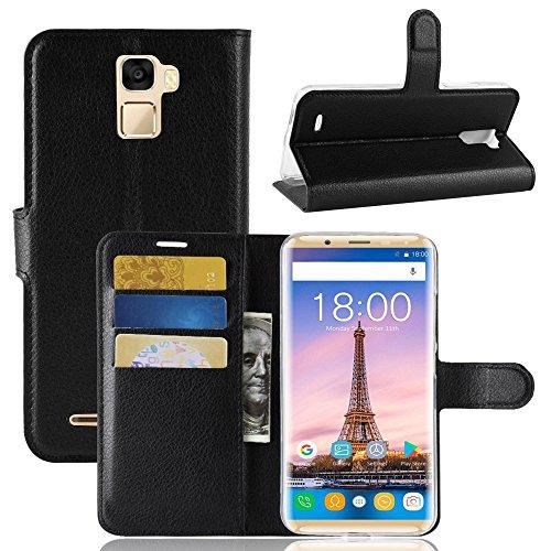TenYll Oukitel K5000 Wallet Tasche Hülle, PU Schutzhülle [Premium Leder] [Ultra Slim] [Card Slot] [Ständer] Flip Wallet Case Etui für Oukitel K5000 -Schwarz