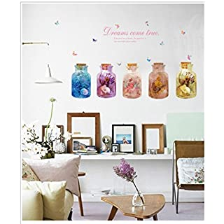 Cartoon Dream Bottle Wall Decals Removable Wall Decor Decorative Painting Supplies & Wall Treatments Stickers for Girls Kids Living Room Bedroom