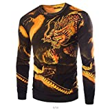 Herren Slim Fit Kaschmir Drachen Muster Mode stricken Pullover Sweaters(my101 gold,XS)