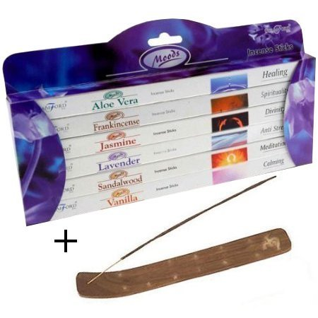 Moods Incense Sticks 6 Pack Gift Set by Stamford PLUS Wooden Incense Holder Stick-set