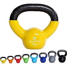 Kettlebell »Kolossos« pesa esférica 2 - 20 kg / Pesa de mano de 100 % hierro con superficie de vinilo / Calidad de gimnasio para un alto rendimiento / 2kg / amarillo