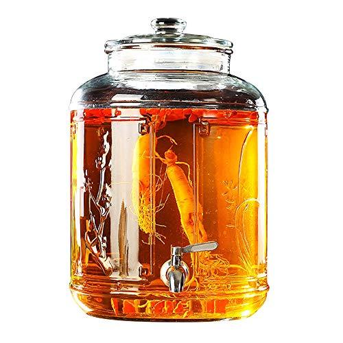 Getränkeautomaten Aus Glas   mit Leckfreiem Spigot   Glasdeckel   Rund   8L, 12,5L, 17L, 20L   Party Hochzeit, Familienfeiern, Geburtstagsfeier   Klar ~