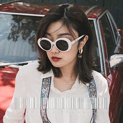 Komny Oval hip-hop Sonnenbrille Frau Tide Persönlichkeit Sonnenbrille männlichen weißen Rand Gläser einen weißen Rahmen [schwarz Objektiv]