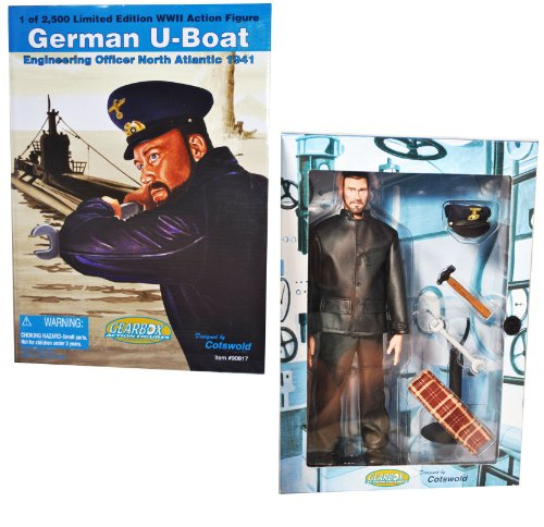 Gearbox Cotswold Collectible Year 2002 Limited Edition World War 2 WWII 12 Inch Tall Soldier Action Figure - German U-Boat Engineering Officer North Atlantic 1941 with Leather Uniform, Scarf, Schirmmutze (Officer Cap) with Insignia, Service Shoes, Die Cast Hammer and Wrench Plus Figure Display Stand by Cotswold Cotswold Cap