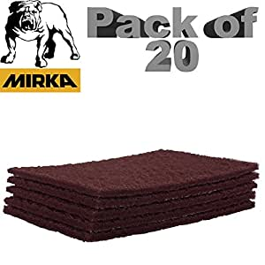 Mirka Mirlon Scotchbrite Clean & Finishing Hand Pads Red Very Fine P360 Fine Grit [150mm x 230mm] 150x230mm Pads Box of 20 Scotch Brite Automotive Sanding Pads
