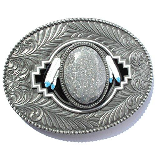 Preisvergleich Produktbild Western-Buckle Indianer-Federn & 3D-Glitzer-Mitte
