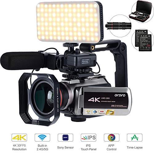 Camcorder 4k,UHD.265-Videocodierung WiFi Übertragung, mit 64-fachem Digitalzoom, Verbindung mit Teleskop-/LED-Licht, Mikrofon und anderem Zubehör (Kameratasche und 64 GB SD-Karte) von Golden Panda