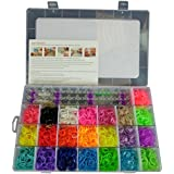 4400 DIY SET Mixed Colour Rainbow Rubber Loom Bands Bracelet Making Kit S-Clips